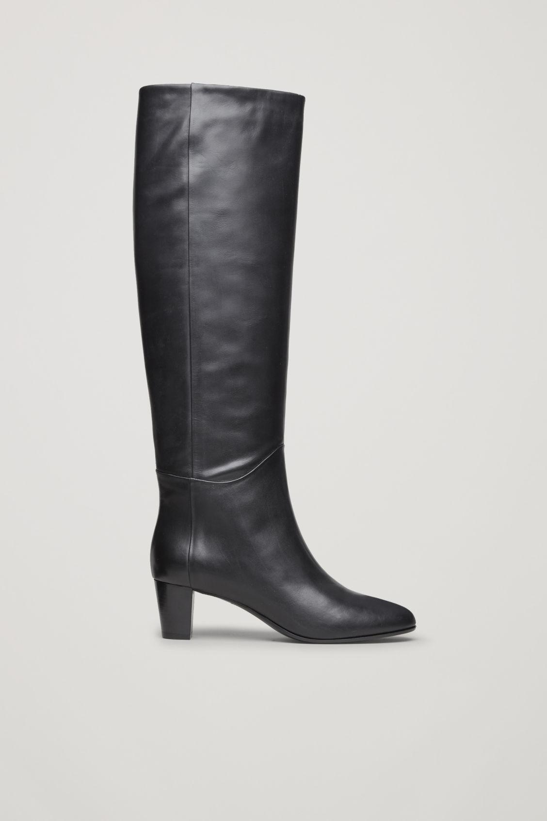 Cos Knee-High Leather Boots In Black