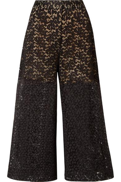 Stella Mccartney Cropped Corded Cotton-Blend Lace Wide-Leg Pants In Black