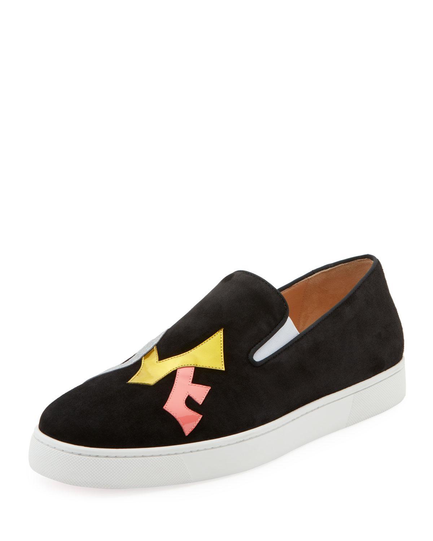 innovative design 52df2 4d413 Men's Love AppliquÉ Suede Slip-On Sneakers in Black