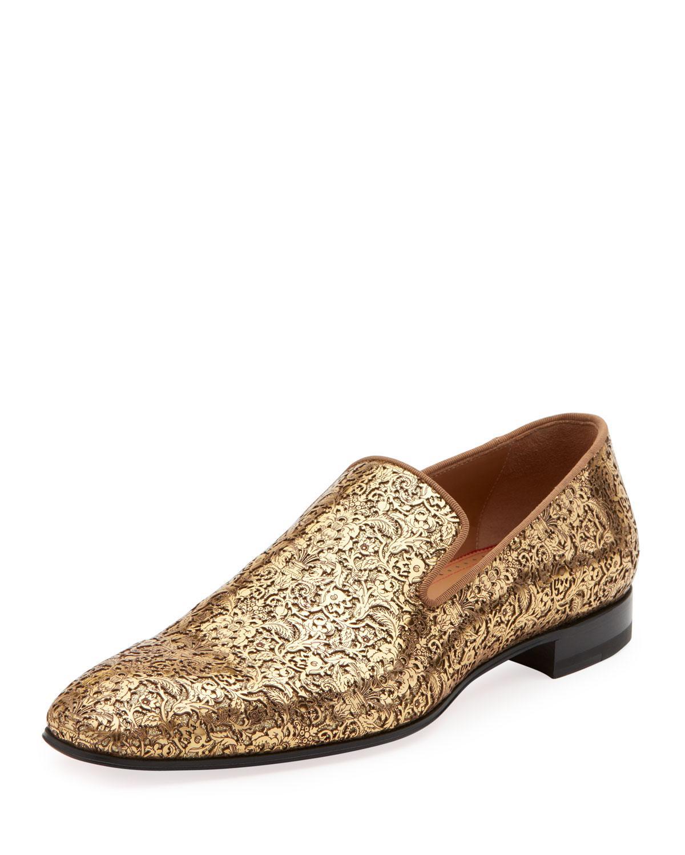 reputable site 10aa3 8ef15 Men's Dandelion Laser-Cut Loafer in Gold