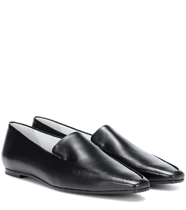 820e31f0cd934 The Row Minimal Textured Patent-Leather Loafers In Black | ModeSens