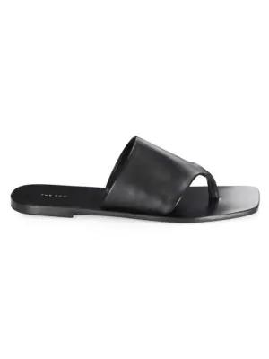 677b62890b87 The Row Flat Napa Leather Thong Sandal In Black