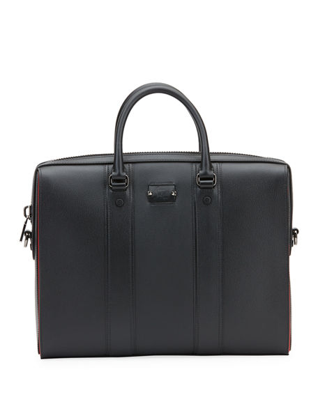 Christian Louboutin Men's Streetwall Leather Briefcase In Black