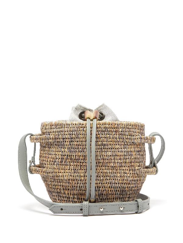 Khokho Thembi Drawstring-top Basket Bag In Light Grey