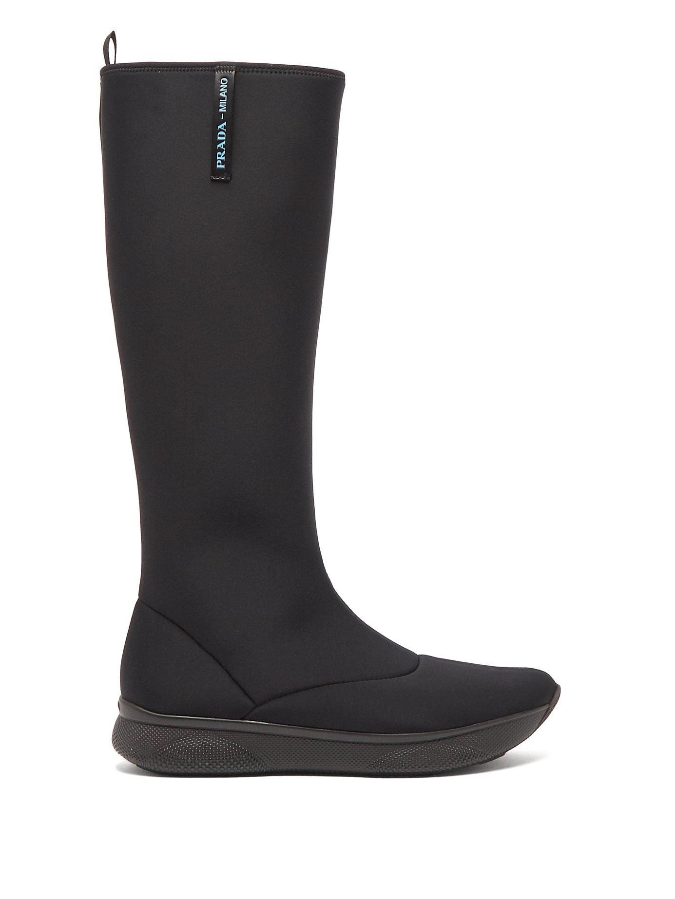 Prada Neoprene Knee-High Boots In Black