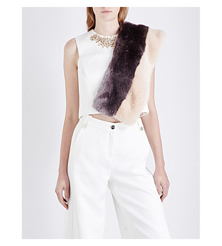 efe3a1e05783b1 Ted Baker 'Jaby' Embellished Sleeveless Crop Top In White | ModeSens