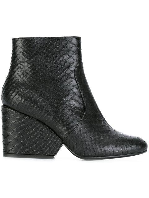 Robert Clergerie Toots Snake Embossed High Heel Booties In Black