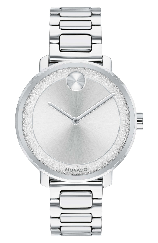 Movado 34Mm Bold Frosted Bracelet Watch In Silver