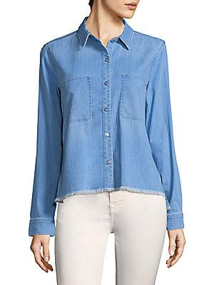 7 For All Mankind Denim Button-Front Shirt In Sky Blue