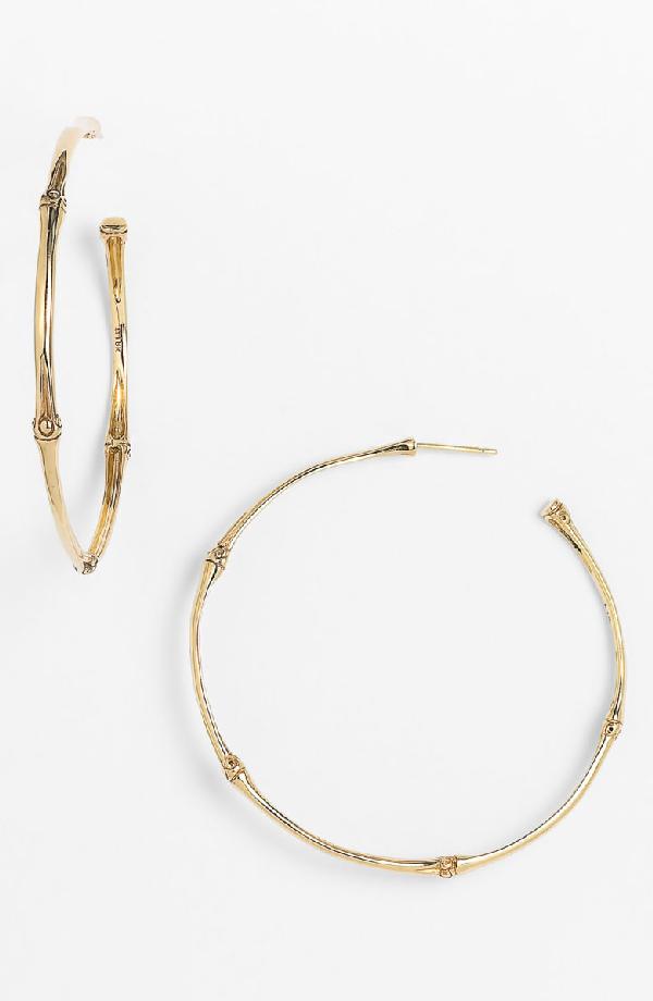John Hardy Bamboo 18K Yellow Gold Large Hoop Earrings