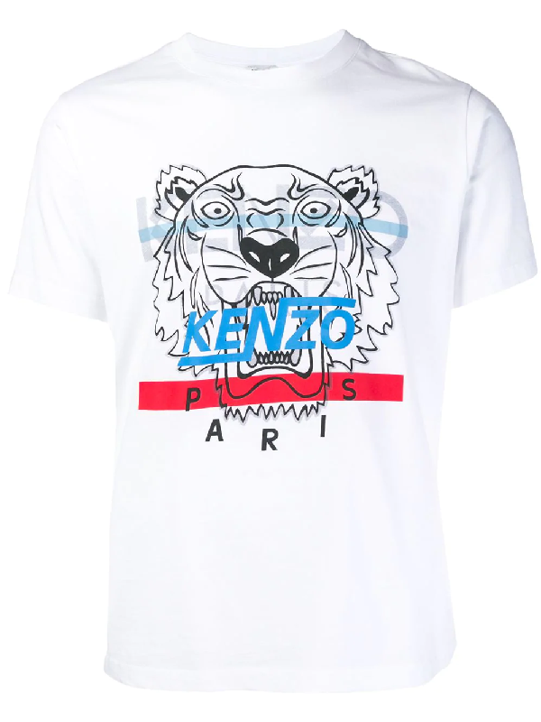 4844e07ee670e8 Kenzo Hyper Tiger Cotton Screen Print Tee In 01 - White | ModeSens