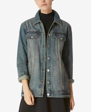 Avec Les Filles Follow Me Cotton Longline Denim Jacket In Dirty Vintage Denim