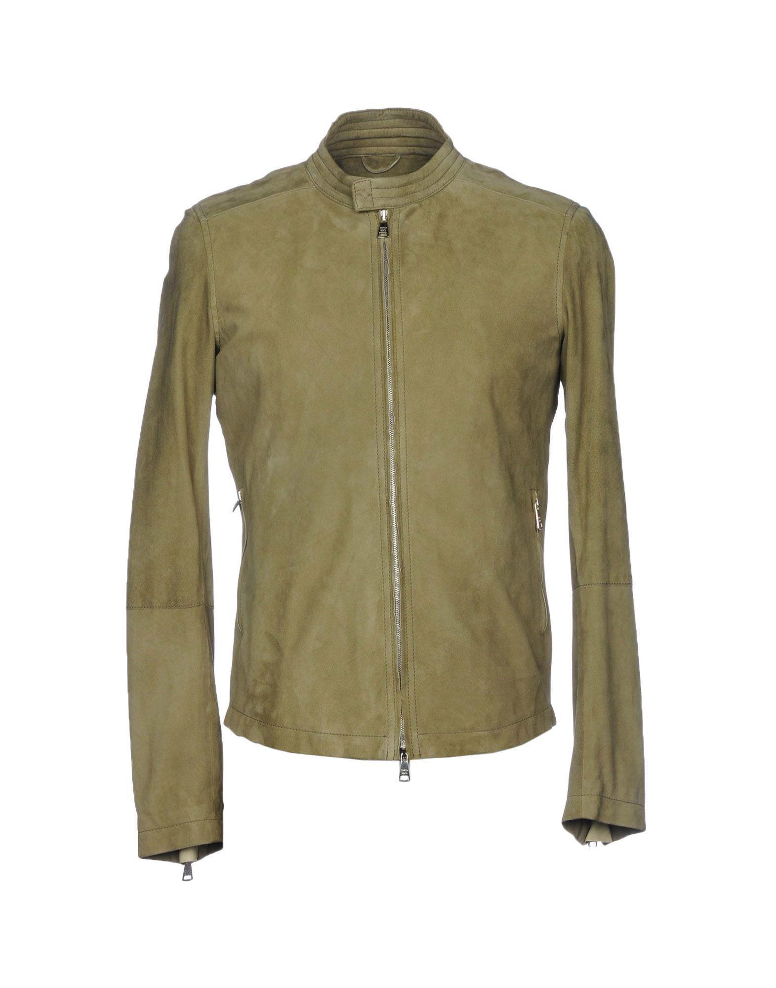 Giorgio Brato Leather Jacket In Military Green