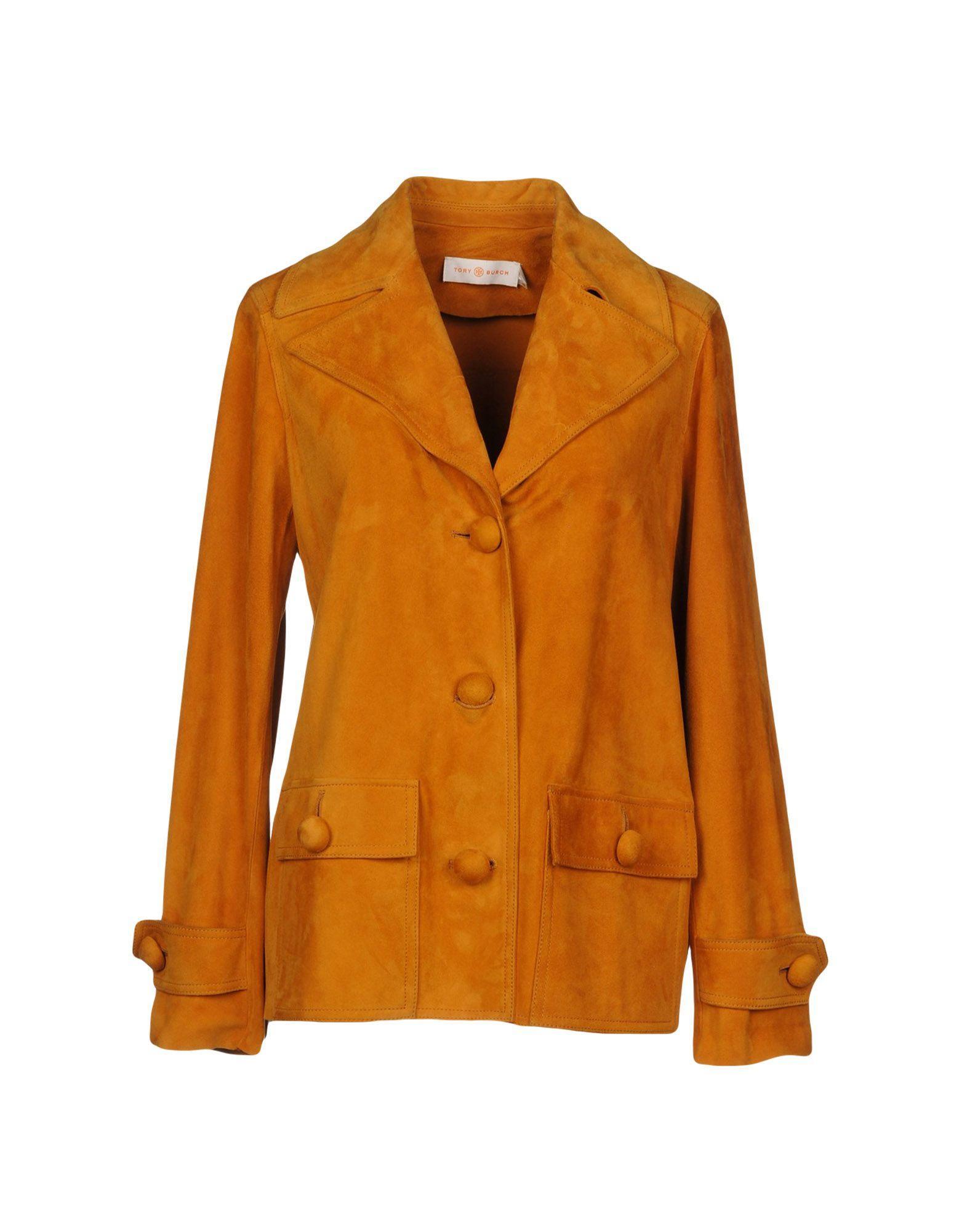 Tory Burch Leather Jacket In Ocher