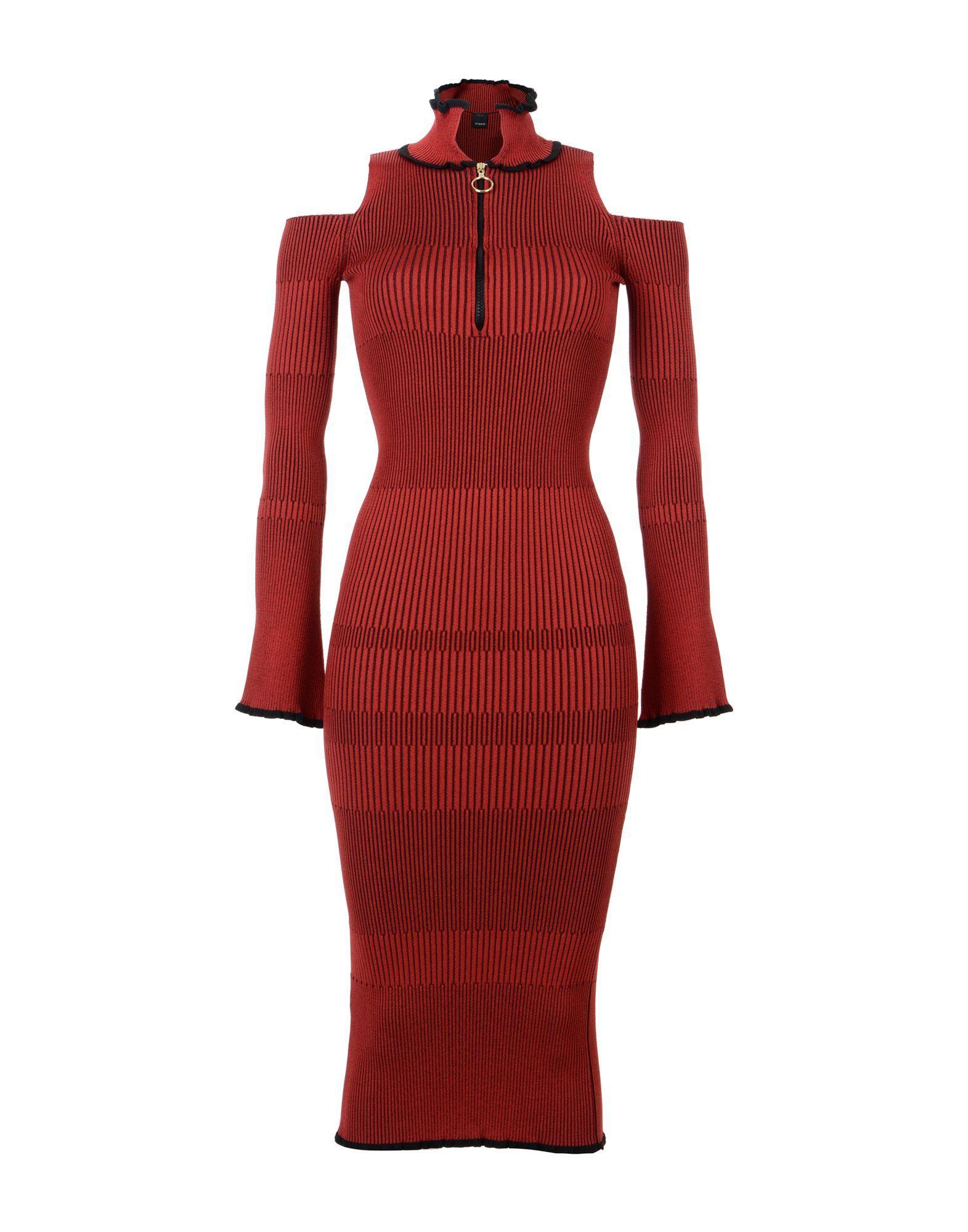 Pinko Midi Dress In Brick Red