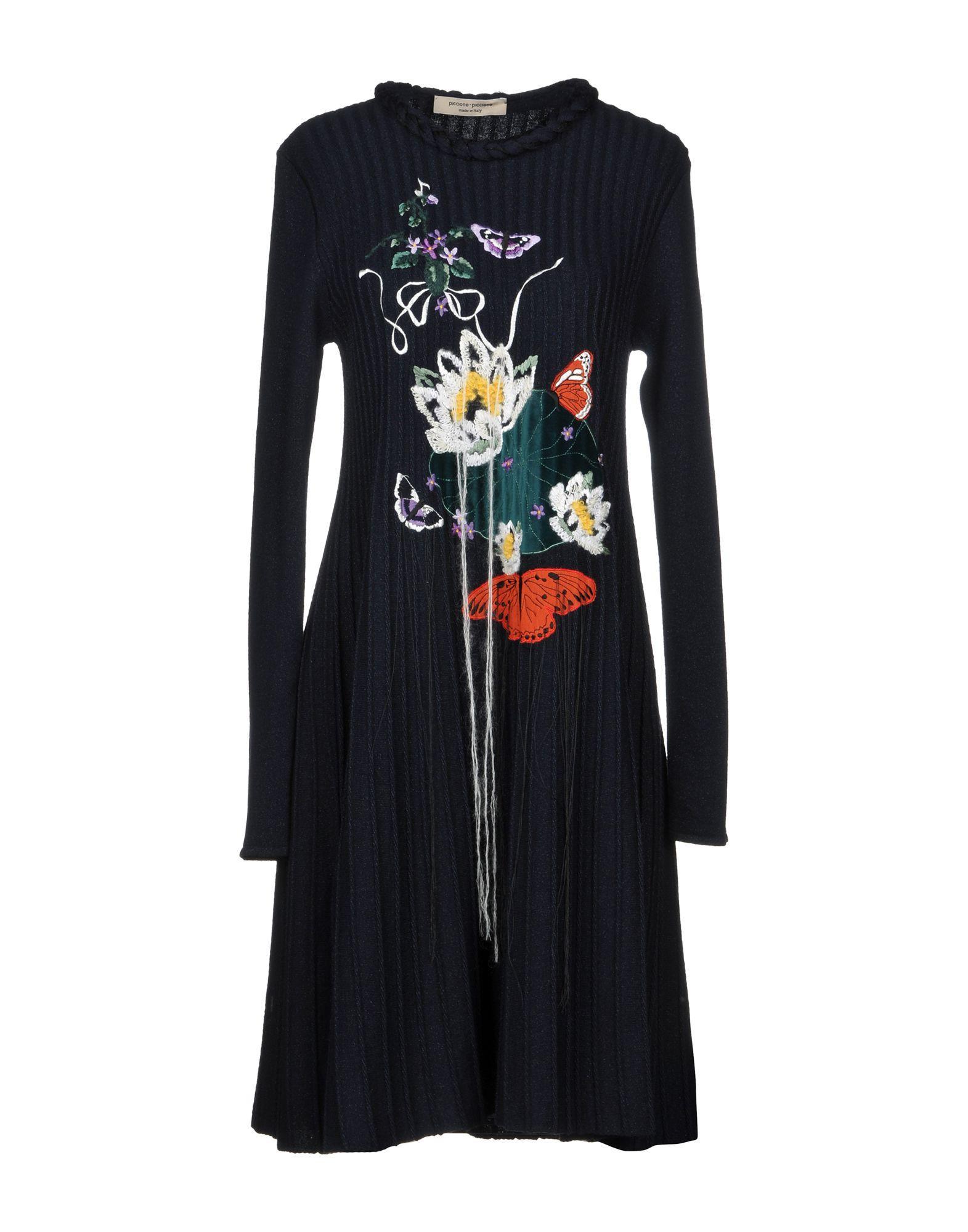 Piccione.piccione Knee-length Dress In Dark Blue