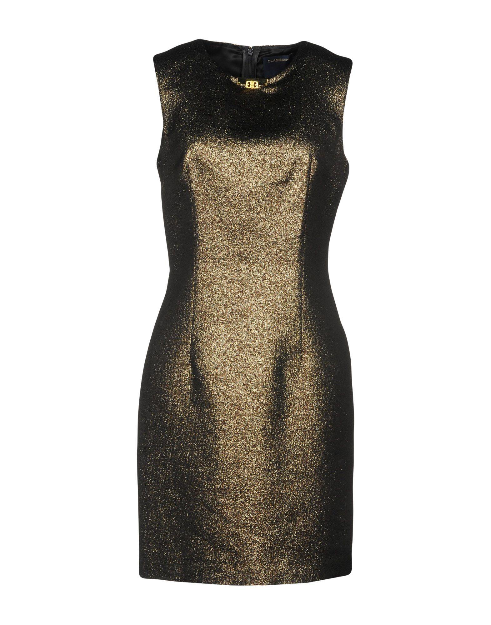 Class Roberto Cavalli Short Dress In Gold