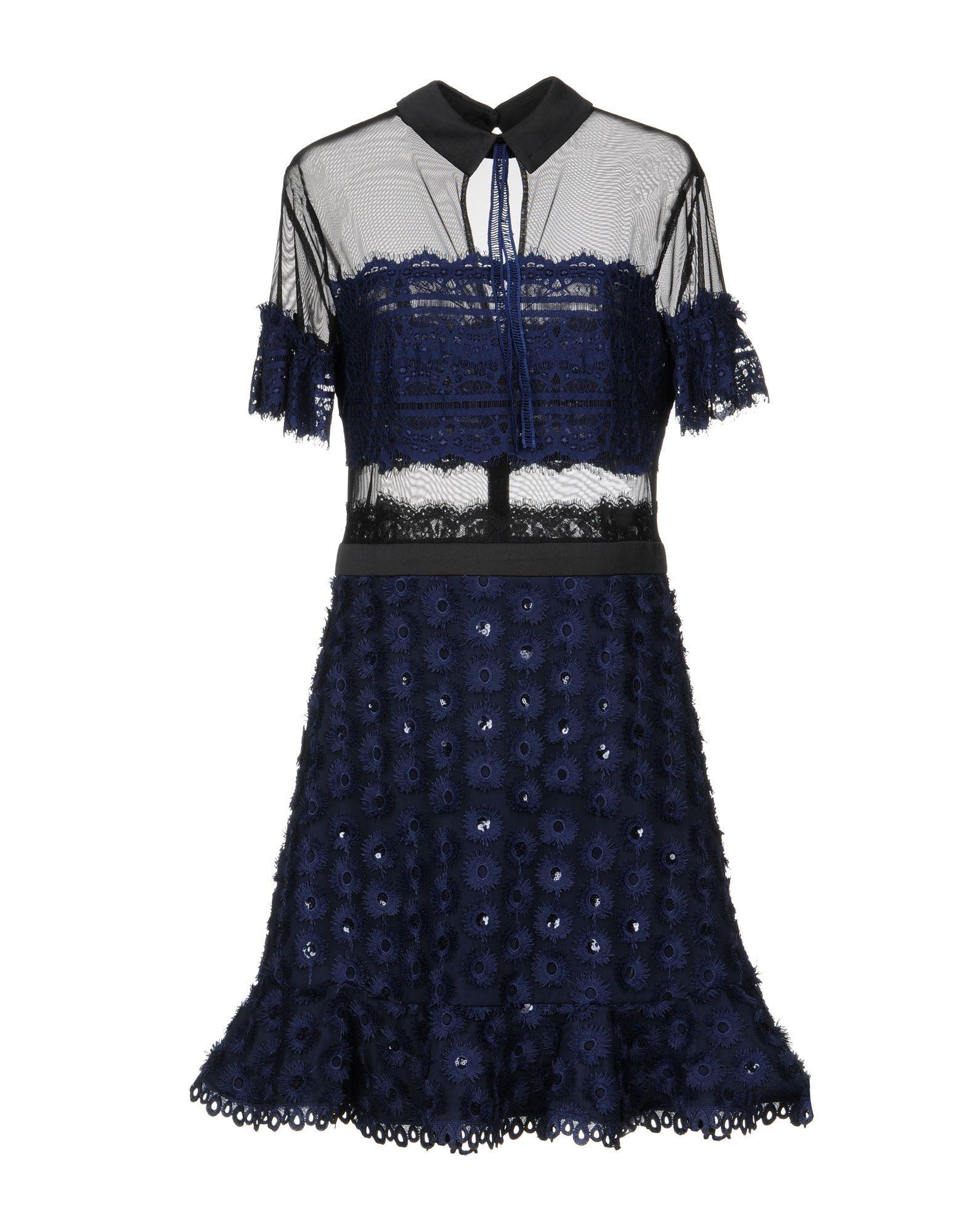 Three Floor Short Dress In Dark Blue