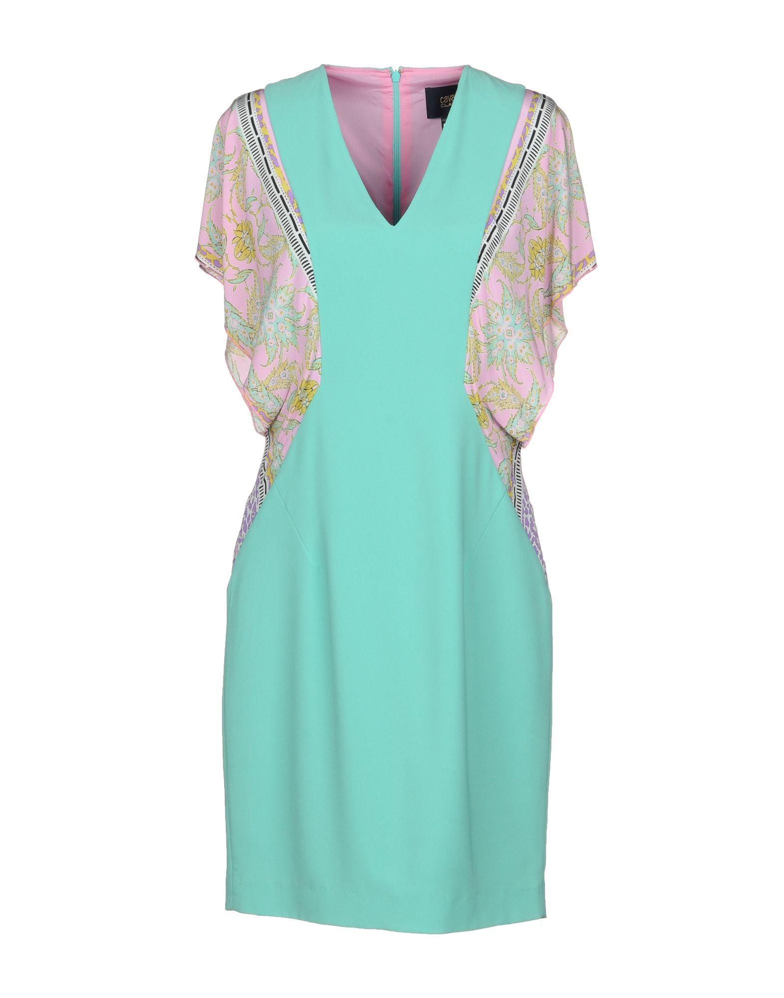 Class Roberto Cavalli Short Dress In Light Green