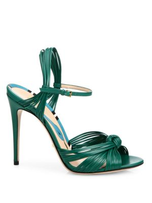 9995513c70f5 Gucci Allie Knotted Leather Ankle-Strap Sandals In Emerald