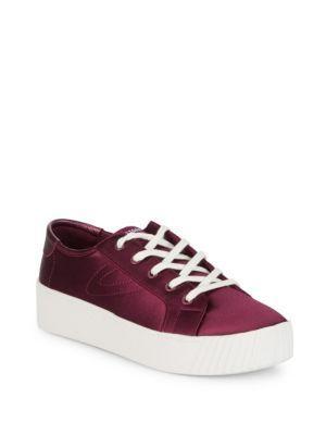 Tretorn Satin Lace-Up Sneaker In Dark Red