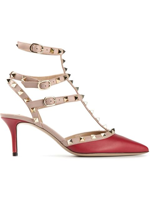 c389380dc Valentino Rockstud Colorblock Leather Mid-Heel Sandal, Crimson In Pink