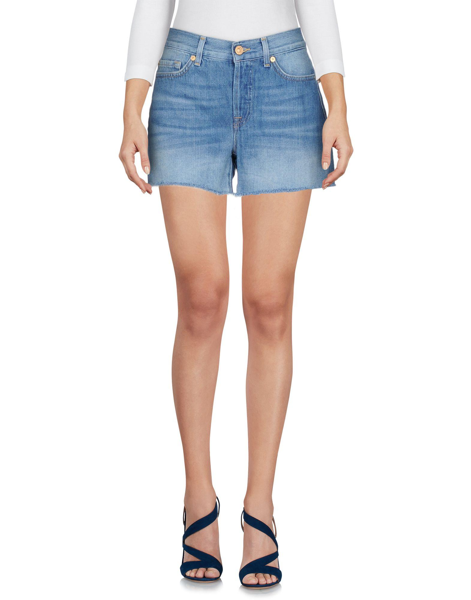 7 For All Mankind Denim Shorts In Blue