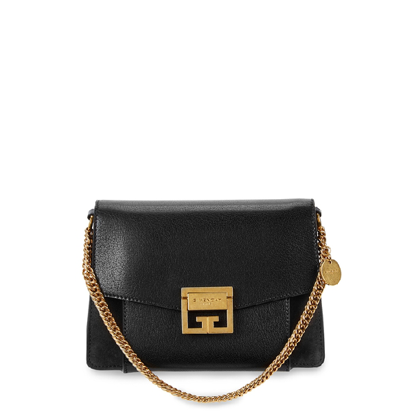 Givenchy Gv3 Small Textured-leather And Suede Shoulder Bag In Black