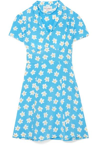 506dc8fa8936 Hvn Mini Morgan Floral-Print Silk Crepe De Chine Mini Dress In Blue ...