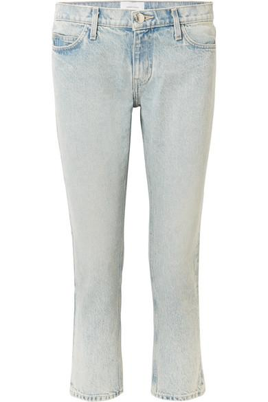 Current Elliott The Cropped Mid-Rise Straight-Leg Jeans In Light Denim