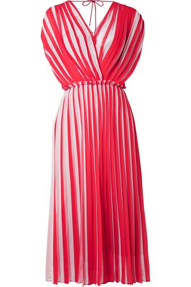 Wrap-Effect Pleated Striped Georgette Midi Dress in Red