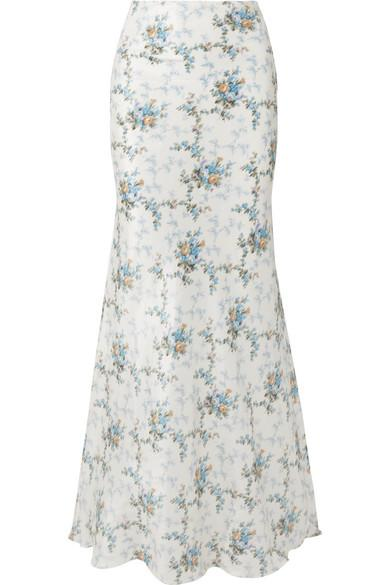 72a817af1 Brock Collection Sophie Floral-Print Silk-Taffeta Maxi Skirt In Blue ...