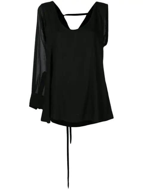 Ann Demeulemeester One Shoulder Blouse - Black