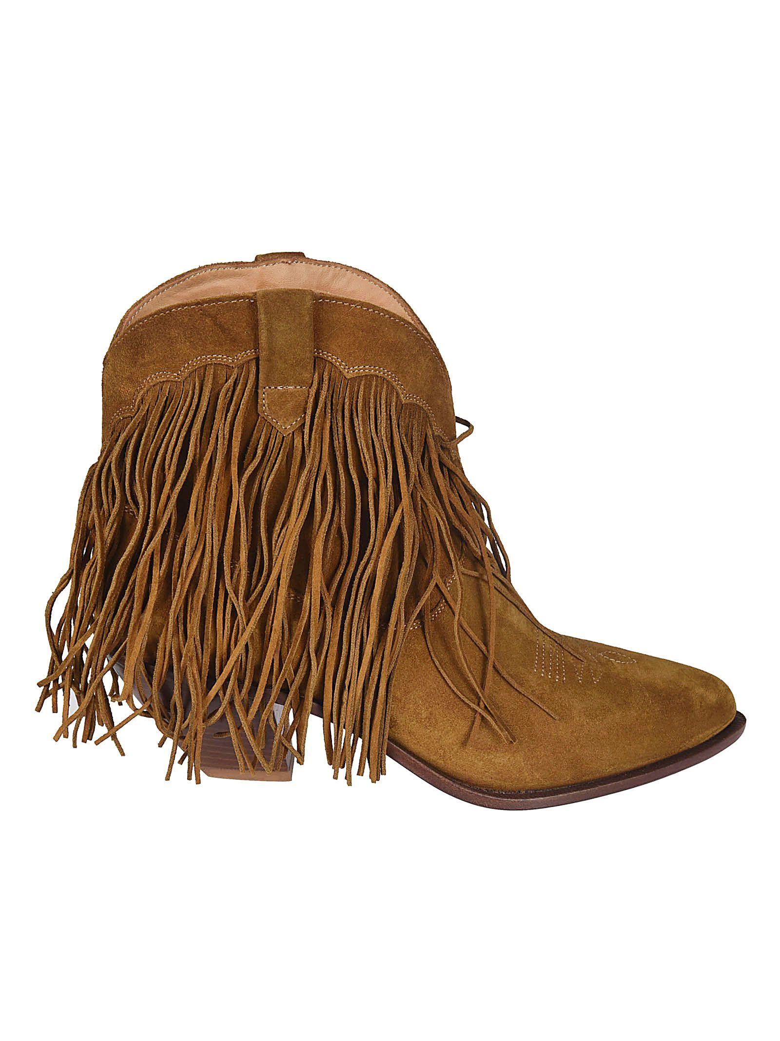 Golden Goose Fringed Heel Ankle Boots In Sabbia