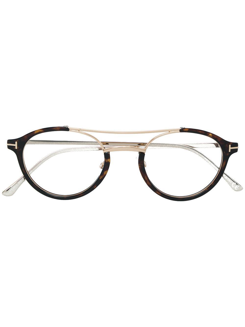 5998975a7839 Tom Ford Eyewear Round Frame Glasses - Brown