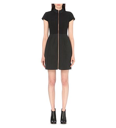 e7999de50 Ted Baker Textured Mixed Media Zip Front Dress In Black