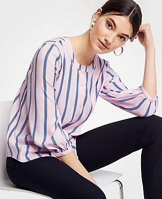 7dbf148e4 Ann Taylor Petite Striped Collarless Button Down Blouse In Laurier ...
