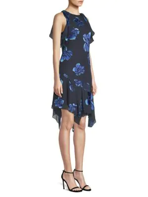 Elie Tahari Serenity Floral Handkerchief-hem Dress In Maritime Blue