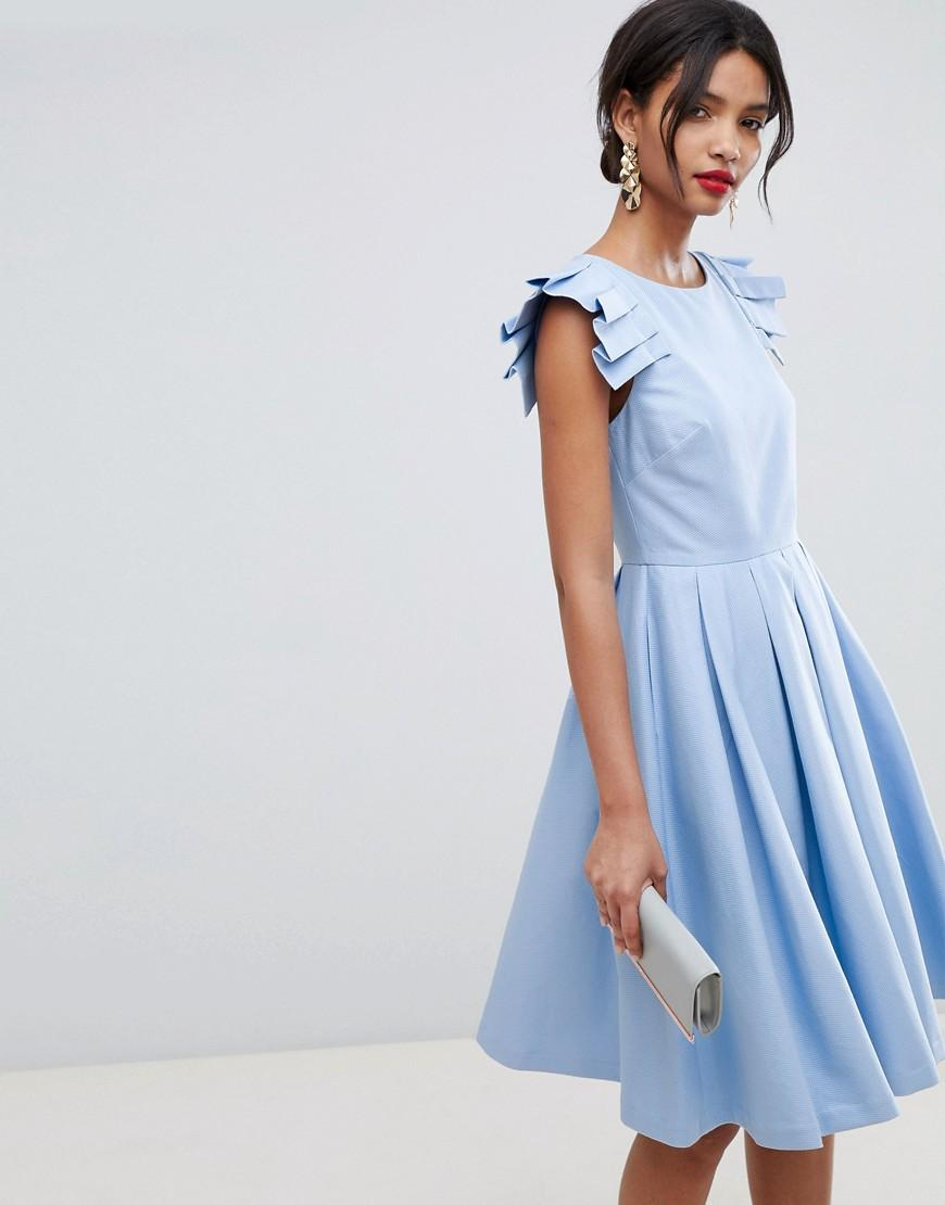 Frill Midi Length Dress Blue