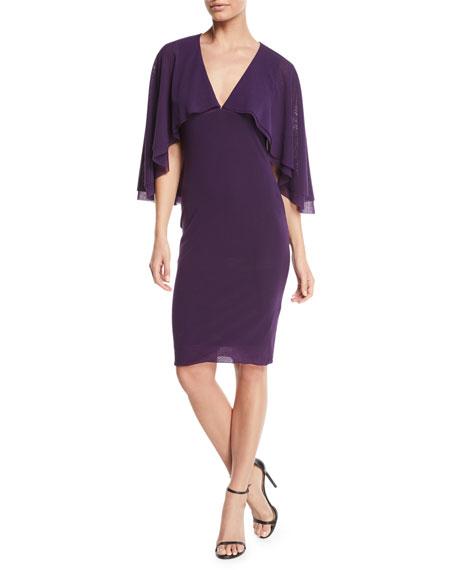 Fuzzi V-Neck Tulle Body-Con Capelet Dress In Viola
