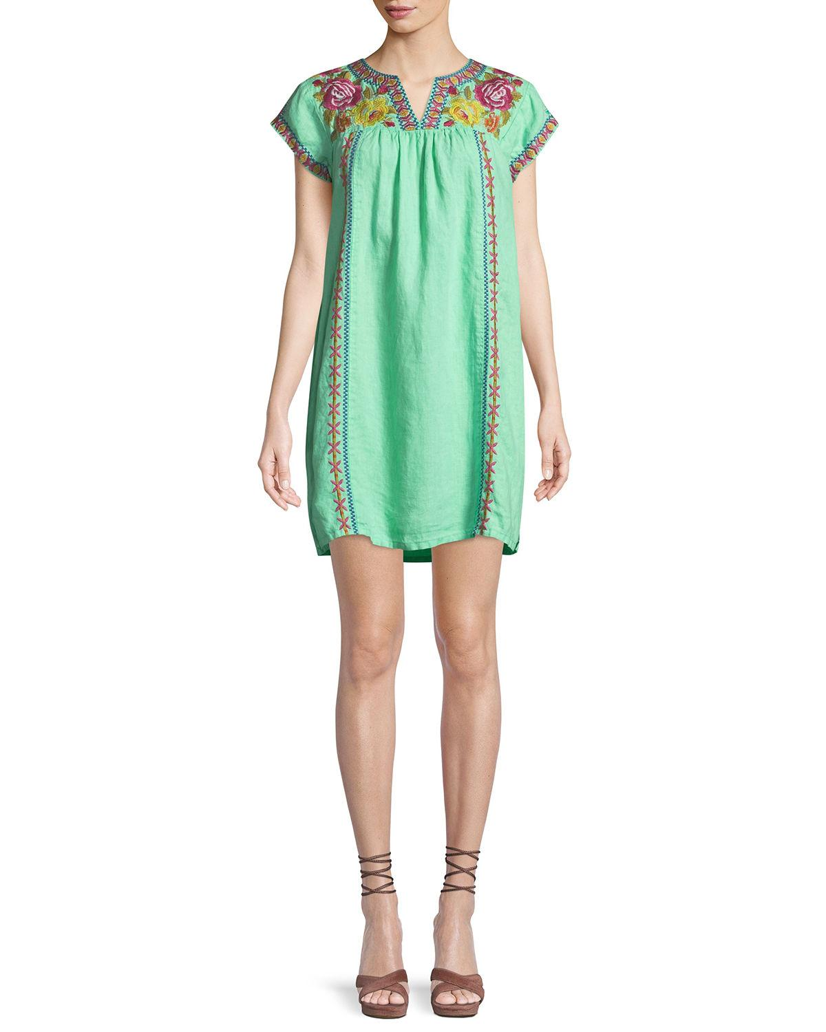 Johnny Was Vella V-Neck Embroidered Shift Dress, Plus Size In Mint ...