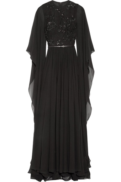 Elie Saab Woman Embellished Tulle And Silk-Chiffon Gown Black