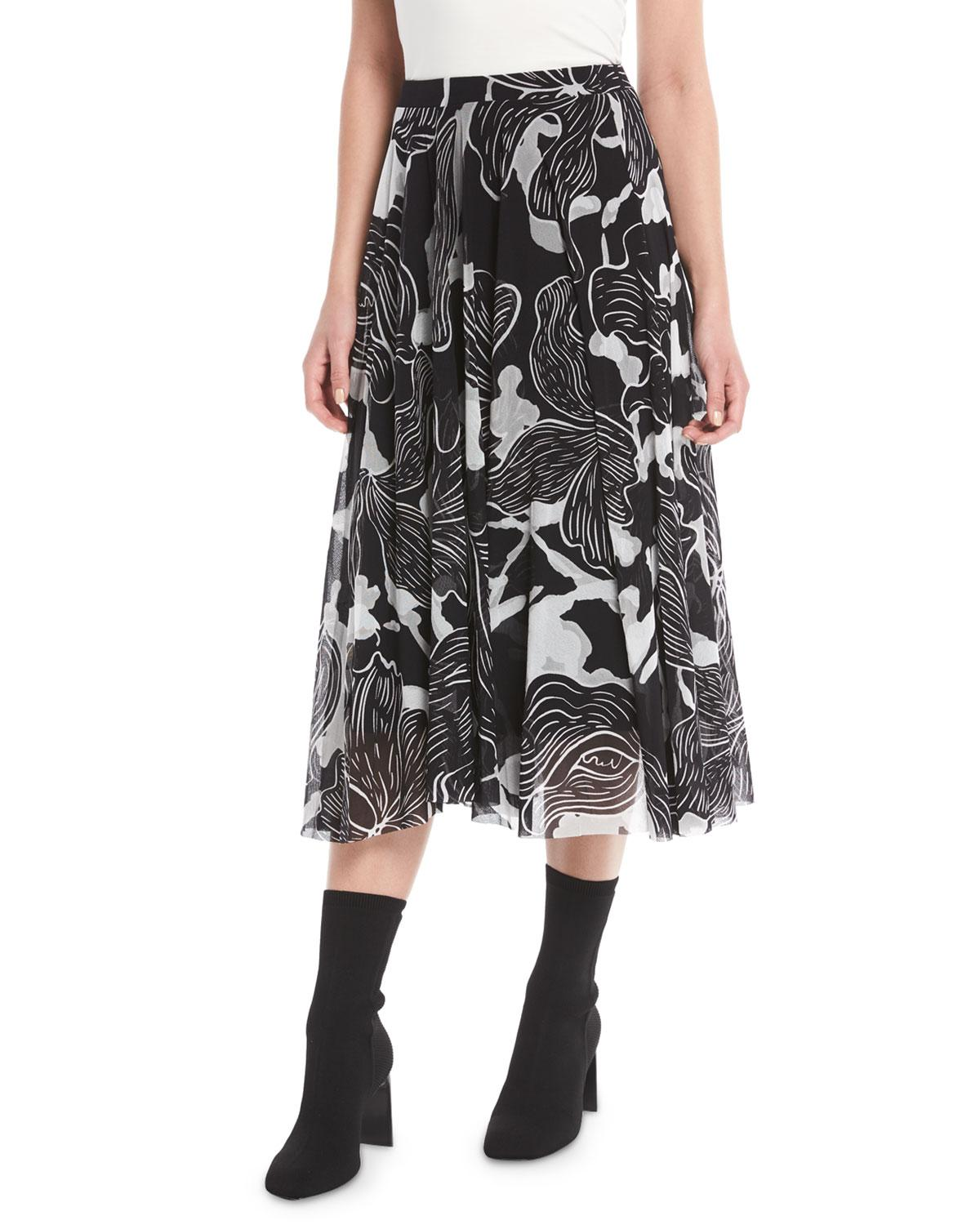 Fuzzi Graphic Floral-Print Tulle A-Line Skirt In Nero