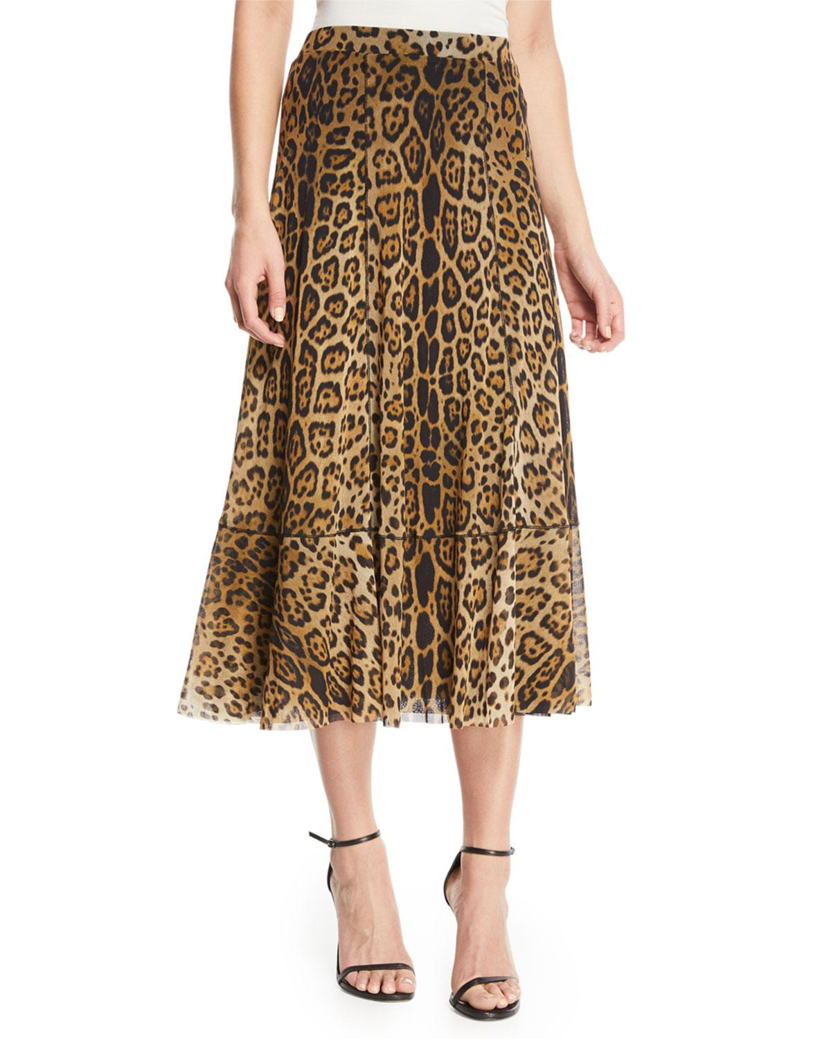 Fuzzi Leopard Animal-Print A-Line Tulle Skirt In Cammelo