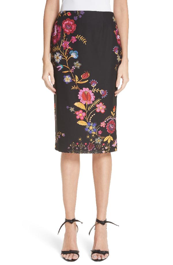 Fuzzi Folk Floral Print Pencil Skirt In Nero