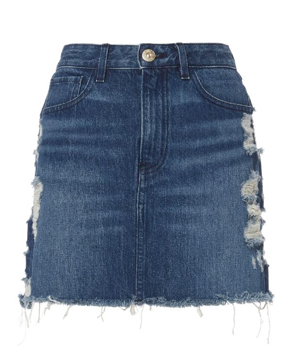 8f6f69d0bb 3X1 Celine Distressed Denim Mini Skirt In Blue | ModeSens