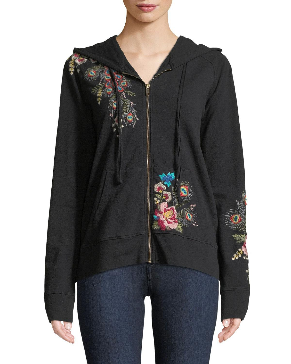 3a441e1286b Johnny Was Plus Size Vernazza Embroidered Zip-Front Hoodie Jacket In Black