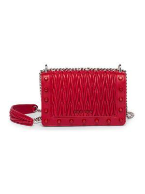 470cf939f75 Miu Miu Matelasse Leather Studded Crossbody Bag In Red