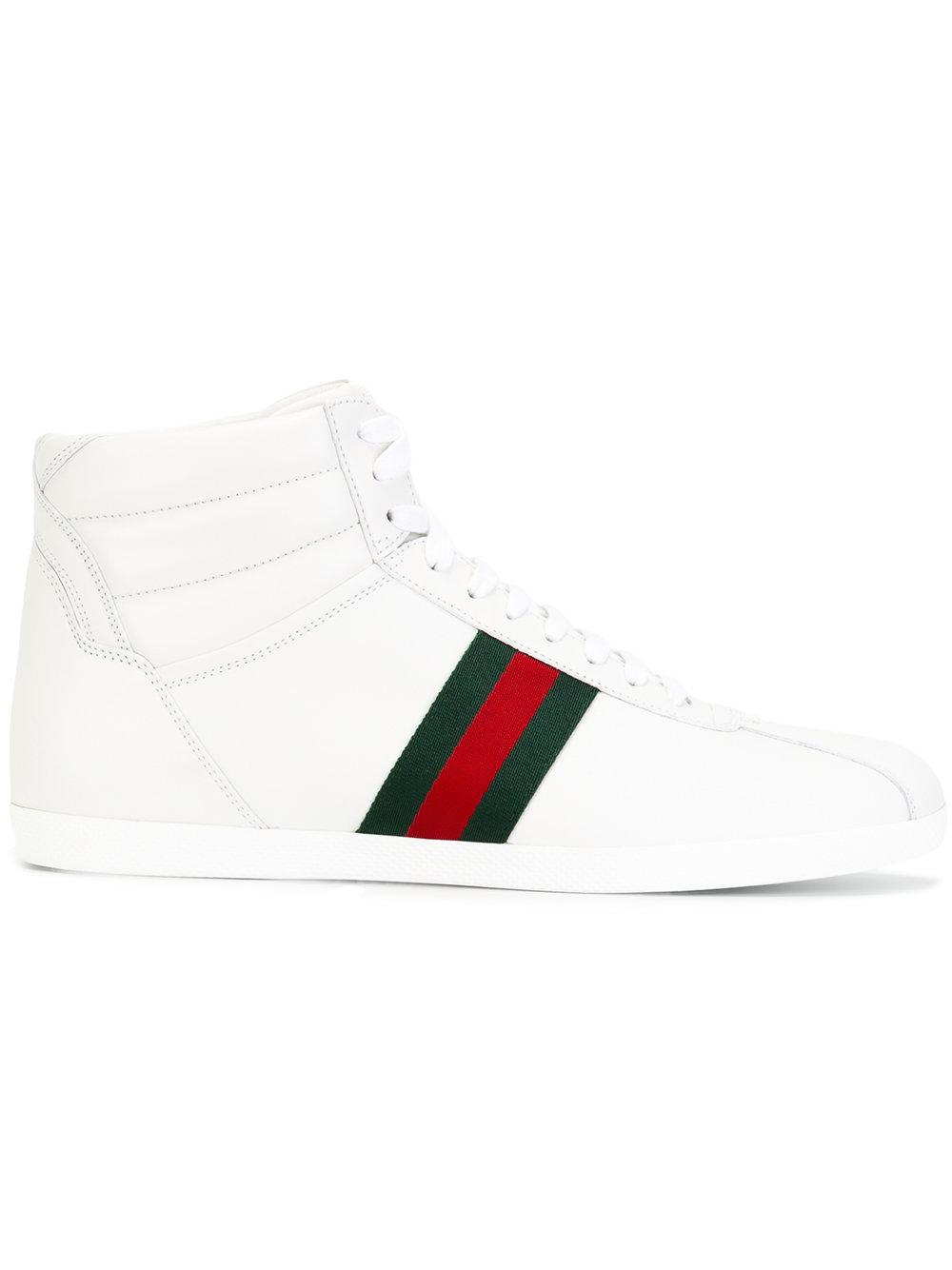 3a4dd0fb7ed Gucci Web Detail Hi-Top Sneakers In White