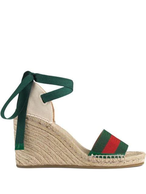 Gucci Lilibeth Striped Grosgrain And Canvas Wedge Espadrilles In Brown